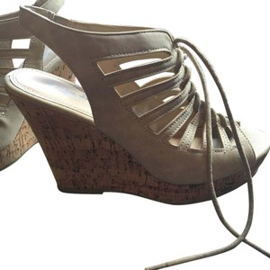 Coach Taupe Beige Open Toe Dirty taupe Wedges