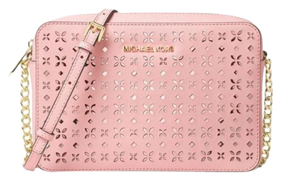 5040ed66c46c Michael Kors Jet Set Travel Large East West Floral Perforated Pink ...