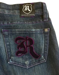 Rock & Republic Velvet Velour Purple Stud Boot Cut Jeans-Dark Rinse