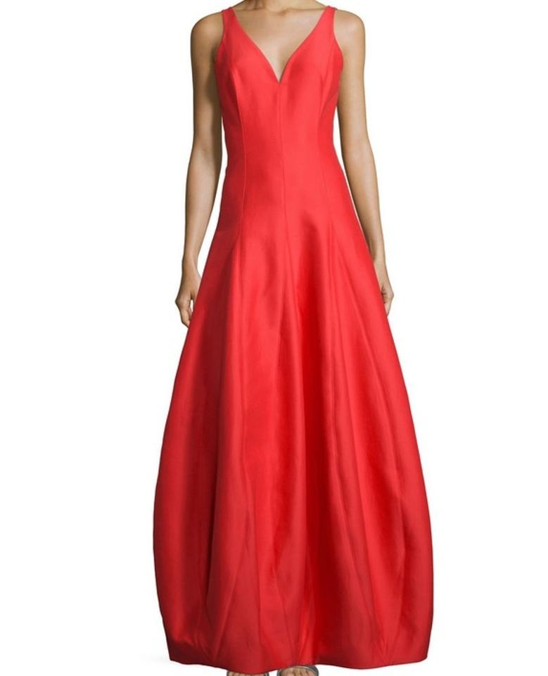 Halston Red Lipstick Faile Evening Gown Long Formal Dress Size 12 (L ...