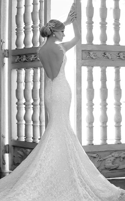 Item - Ivory Lace Over Oyster Dolce Satin Ml577 Sexy Wedding Dress Size 6 (S)
