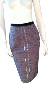 Alessandro Dell'Acqua Sequined Pencil Denim Size 8 Skirt Denim Color