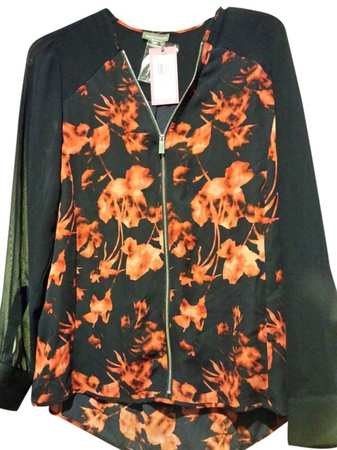 Vince Camuto Top Navy Blue & Floral