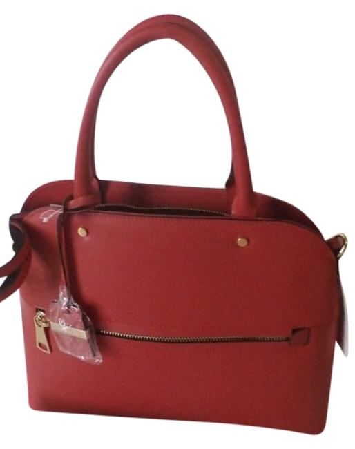 Item - Leather Tote Handbag Made In Italy Red Satchel