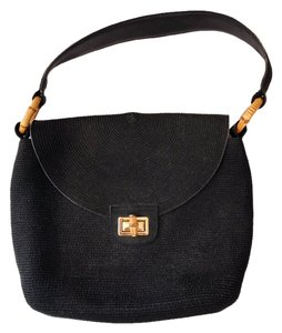 Eric Javits Black Bamboo Shoulder Bag