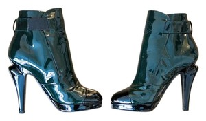 Chanel Patent Leather Platform Logo Luxury Olive Green and Black Boots
