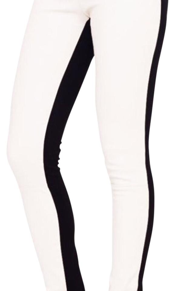 7eb6c7431d64ea Club Monaco Black and White Eve Leather Leggings Size 4 (S, 27 ...