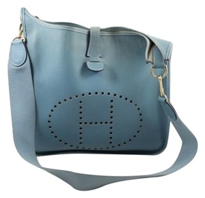 Hermes Leather Perforated Evelyn Cross Body Bag