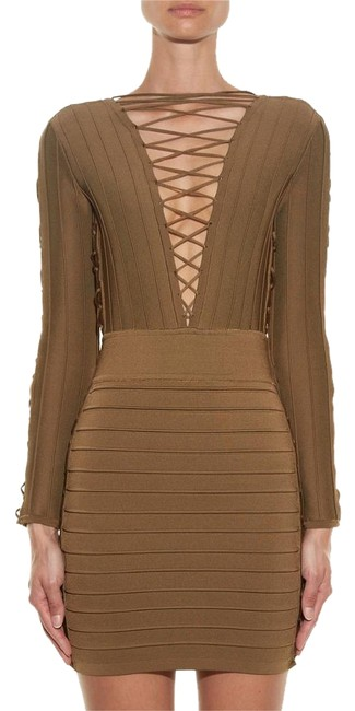 Item - Khaki/Bronze New Sexy Lace Up Bandage Stretch Bodycon Knit Mini 40 Above Knee Night Out Dress Size 6 (S)
