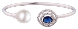 New Blue Swarovski Crystal And Faux Pearl Cuff Bracelet