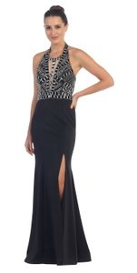 Black Rhinestones Bust Flared Long Skirt Halter Formal Dress