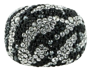 Swarovski Appollon White and Black Crystal /Glass Cocktail RIng