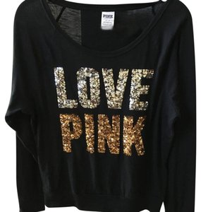 Victoria's Secret T Shirt Black with silver and gold lettering