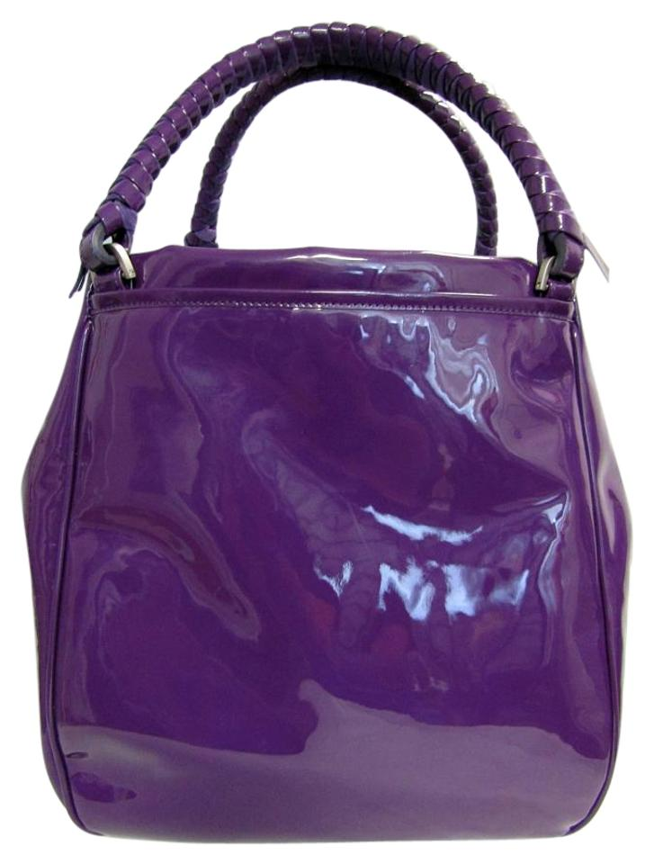 Malo Large Patent Leather Tote In Purple