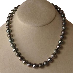 Unique Vintage ESTATE TAHITIAN BLACK PEACOCK PEARL NECKLACE (18inches)(9-10mm) 14K!!