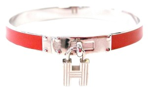 Hermès Kelly H Cadena Silver Red Leather Bangle Bracelet w/ Gift Box