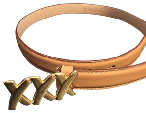Paloma Picasso Paloma Picasso Thin Leather X Buckle Neutral Belt