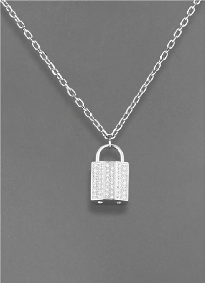 set silver padlock in zamels necklace product sterling