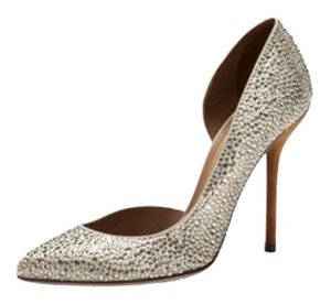 Gucci Crystals Studded Silver Pumps