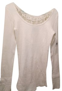 GRAY/Saks Fifth Ave. Off White Crocheted Detail Long Sleeve Sweater