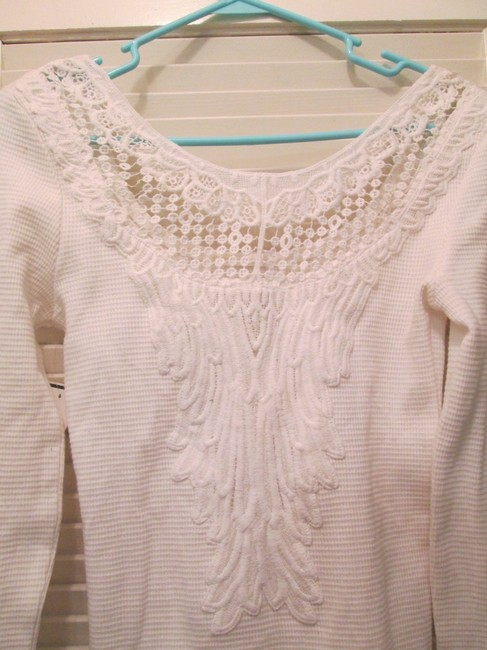 GRAY/Saks Fifth Ave. Off Crocheted Detail Long Sleeve Sweater