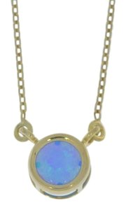 Elizabeth Jewelry 14Kt Yellow Gold Plated Blue Opal Round Bezel Pendant