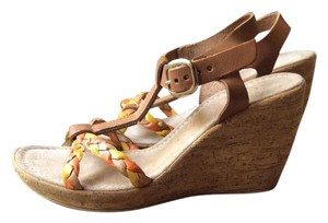 Sotto Sapra Tan with yellow and orange braided straps Wedges