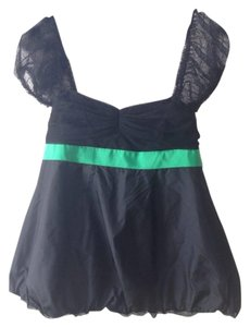 Marc Jacobs Tulle Black Ribbon Silk Top black green