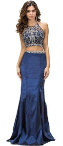 Navy Racerback Bejeweled Top Taffeta Skirt Two Pieces Dress
