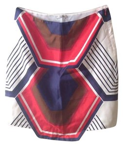 Miu Miu Silk Retro 60's French Skirt red blue brown ecru
