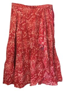 Coldwater Creek Music Festival Flowing Long Flowing Full Hawaii Maxi Skirt Red
