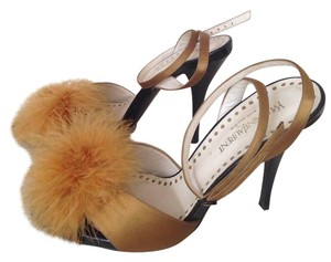 Saint Laurent Rive Gauche Ysl Pom Pom golden yellow gold Sandals