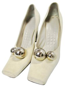 Louis Vuitton Suede Silver Balls Shiny Heels Cream Pumps