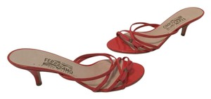 Salvatore Ferragamo Italian Coral patent all leather overlaid red ribbon Sandals