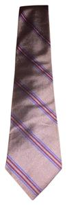Burberry 100% Silk Mens Tie Gold Red Blue Stripe