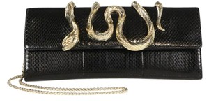 Roberto Cavalli Snake Embossed Black Clutch