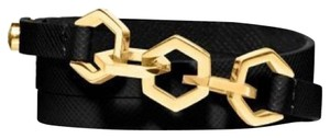 Tory Burch Tory Burch Hexagon Leather Triple Wrap Bracelet