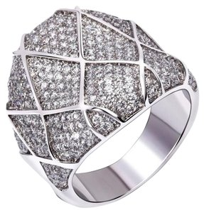Cubic Zirconia Checker Ring in Pave Setting