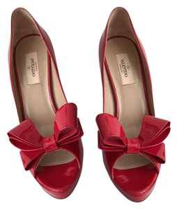 Valentino Bow Couture Patent Leather Peep Toe Pump Red Platforms
