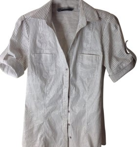 Zara Button Down Shirt White and silver