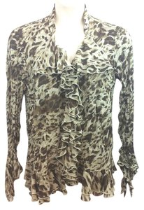 DRESS -U-II Animal Print Crinkle Top