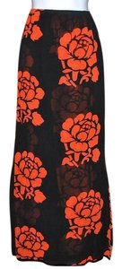 Chico's Flowers Background Maxi Skirt Black & Red