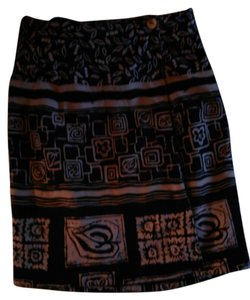 Clio 100% Silk Lined Wrap Skirt Black with Gold Design