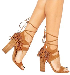 Kendall + Kylie And Suede Heels Lace Up Fringe Maple Sandals