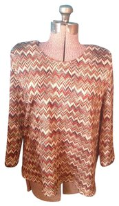 Alfred Dunner Zig Zag Spandex Polyester Top Multi color