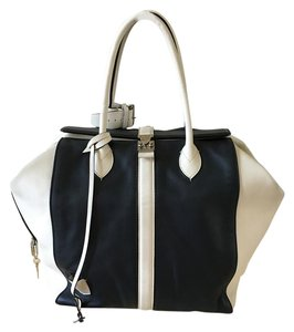 Louis Vuitton Lv Cuir Gourmand Speedy Travel Tote in Navy & White