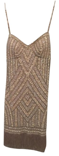 Item - Beige Beaded Cocktail Fringe Above Knee Night Out Dress Size 8 (M)
