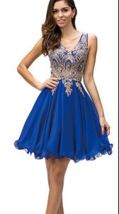 Royal Sleeveless Embroidered Bodice Short Party Dress
