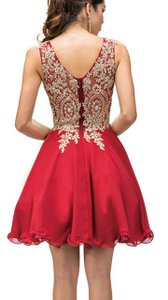 Burgundy Sleeveless Embroidered Bodice Short Party Dress