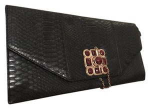 Arden B. Leather And Gold Black Clutch